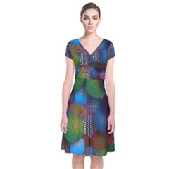 Multicolored Patterned Spheres 3d Short Sleeve Front Wrap Dress