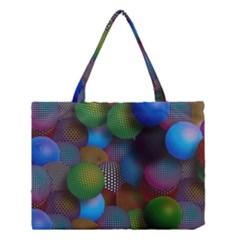 Multicolored Patterned Spheres 3d Medium Tote Bag
