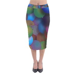 Multicolored Patterned Spheres 3d Velvet Midi Pencil Skirt