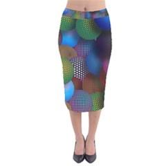Multicolored Patterned Spheres 3d Velvet Midi Pencil Skirt
