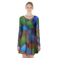 Multicolored Patterned Spheres 3d Long Sleeve Velvet V Neck Dress