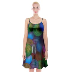 Multicolored Patterned Spheres 3d Spaghetti Strap Velvet Dress
