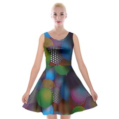 Multicolored Patterned Spheres 3d Velvet Skater Dress