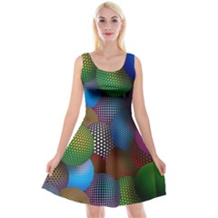 Multicolored Patterned Spheres 3d Reversible Velvet Sleeveless Dress