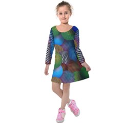 Multicolored Patterned Spheres 3d Kids  Long Sleeve Velvet Dress