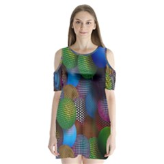Multicolored Patterned Spheres 3d Shoulder Cutout Velvet  One Piece