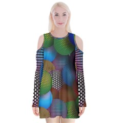 Multicolored Patterned Spheres 3d Velvet Long Sleeve Shoulder Cutout Dress