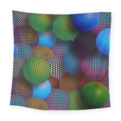Multicolored Patterned Spheres 3d Square Tapestry (Large)