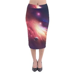 Nebula Elevation Velvet Midi Pencil Skirt