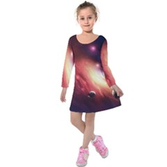 Nebula Elevation Kids  Long Sleeve Velvet Dress