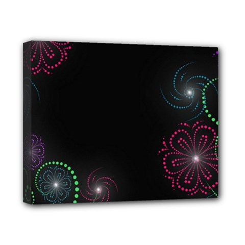 Neon Flowers And Swirls Abstract Canvas 10  X 8