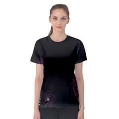 Neon Flowers And Swirls Abstract Women s Sport Mesh Tee