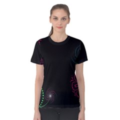 Neon Flowers And Swirls Abstract Women s Cotton Tee