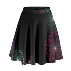 Neon Flowers And Swirls Abstract High Waist Skirt