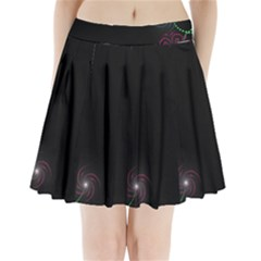 Neon Flowers And Swirls Abstract Pleated Mini Skirt