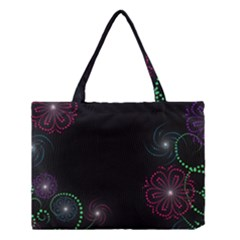 Neon Flowers And Swirls Abstract Medium Tote Bag