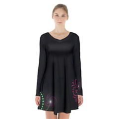 Neon Flowers And Swirls Abstract Long Sleeve Velvet V Neck Dress