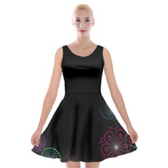 Neon Flowers And Swirls Abstract Velvet Skater Dress