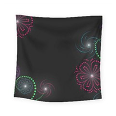 Neon Flowers And Swirls Abstract Square Tapestry (Small)