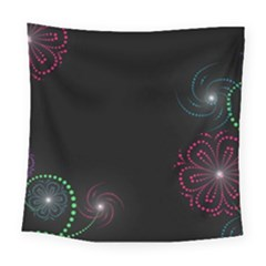 Neon Flowers And Swirls Abstract Square Tapestry (large)