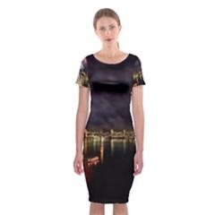 New Year's Evein Sydney Australia Opera House Celebration Fireworks Classic Short Sleeve Midi Dress