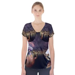 New Year's Evein Sydney Australia Opera House Celebration Fireworks Short Sleeve Front Detail Top