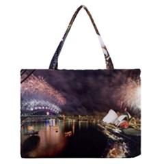 New Year's Evein Sydney Australia Opera House Celebration Fireworks Medium Zipper Tote Bag