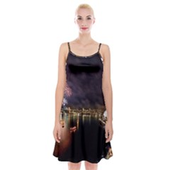 New Year's Evein Sydney Australia Opera House Celebration Fireworks Spaghetti Strap Velvet Dress