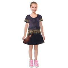 New Year's Evein Sydney Australia Opera House Celebration Fireworks Kids  Short Sleeve Velvet Dress