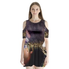 New Year's Evein Sydney Australia Opera House Celebration Fireworks Shoulder Cutout Velvet  One Piece