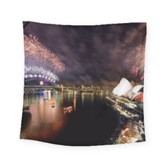 New Year's Evein Sydney Australia Opera House Celebration Fireworks Square Tapestry (Small)