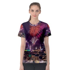 New Year New Year's Eve In Salzburg Austria Holiday Celebration Fireworks Women s Sport Mesh Tee