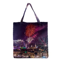 New Year New Year's Eve In Salzburg Austria Holiday Celebration Fireworks Grocery Tote Bag