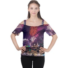 New Year New Year's Eve In Salzburg Austria Holiday Celebration Fireworks Women s Cutout Shoulder Tee