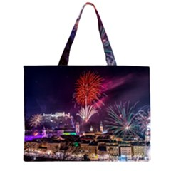 New Year New Year's Eve In Salzburg Austria Holiday Celebration Fireworks Large Tote Bag