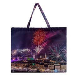New Year New Year's Eve In Salzburg Austria Holiday Celebration Fireworks Zipper Large Tote Bag