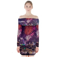 New Year New Year's Eve In Salzburg Austria Holiday Celebration Fireworks Long Sleeve Off Shoulder Dress