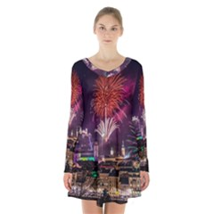New Year New Year's Eve In Salzburg Austria Holiday Celebration Fireworks Long Sleeve Velvet V Neck Dress