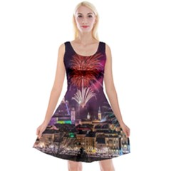 New Year New Year's Eve In Salzburg Austria Holiday Celebration Fireworks Reversible Velvet Sleeveless Dress