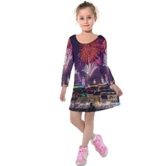 New Year New Year's Eve In Salzburg Austria Holiday Celebration Fireworks Kids  Long Sleeve Velvet Dress