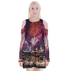 New Year New Year's Eve In Salzburg Austria Holiday Celebration Fireworks Velvet Long Sleeve Shoulder Cutout Dress