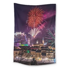 New Year New Year's Eve In Salzburg Austria Holiday Celebration Fireworks Large Tapestry