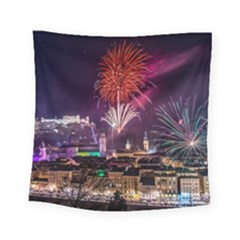 New Year New Year's Eve In Salzburg Austria Holiday Celebration Fireworks Square Tapestry (Small)
