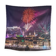 New Year New Year's Eve In Salzburg Austria Holiday Celebration Fireworks Square Tapestry (Large)