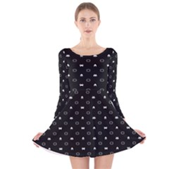 Space Black Long Sleeve Velvet Skater Dress