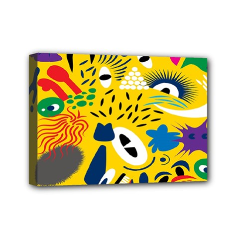 Yellow Eye Animals Cat Mini Canvas 7  x 5