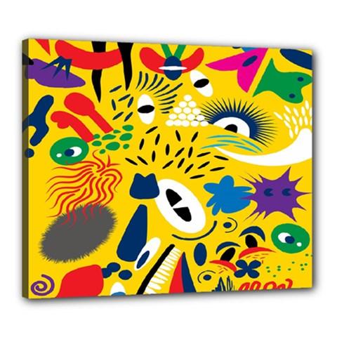 Yellow Eye Animals Cat Canvas 24  x 20