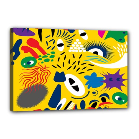 Yellow Eye Animals Cat Canvas 18  x 12