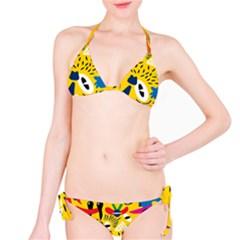 Yellow Eye Animals Cat Bikini Set