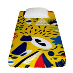 Yellow Eye Animals Cat Fitted Sheet (Single Size)